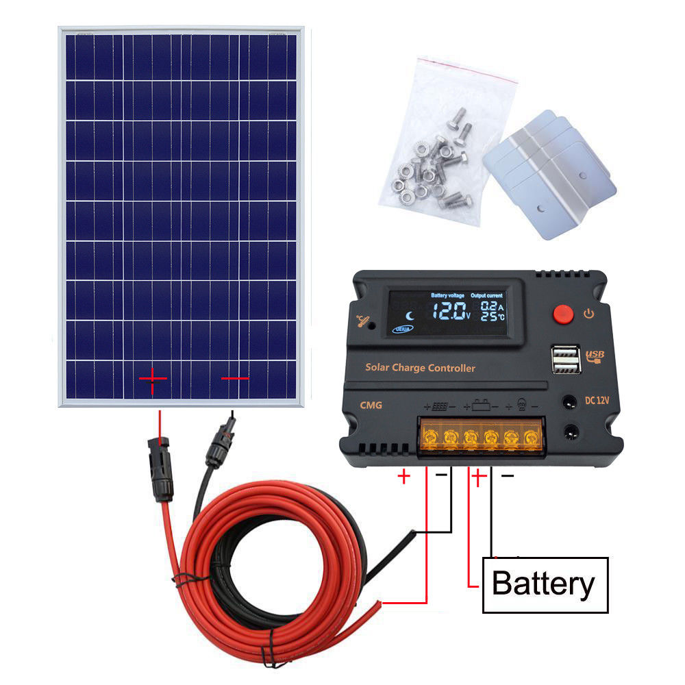 100W / 120W / 150W Solar Panel kit 12V battery Charge 10A / 20A